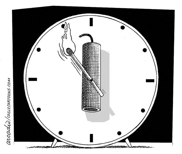 Arcadio Esquivel - La Prensa, Panama, www.caglecartoons.com - Time of terror - English - terror, time, clock, horror