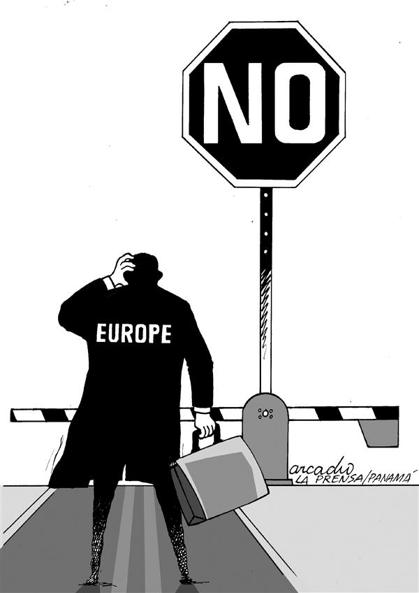 Arcadio Esquivel - La Prensa, Panama, www.caglecartoons.com - Stop to Europe - English - Europe, parliament, European, Union, constitution, referendum