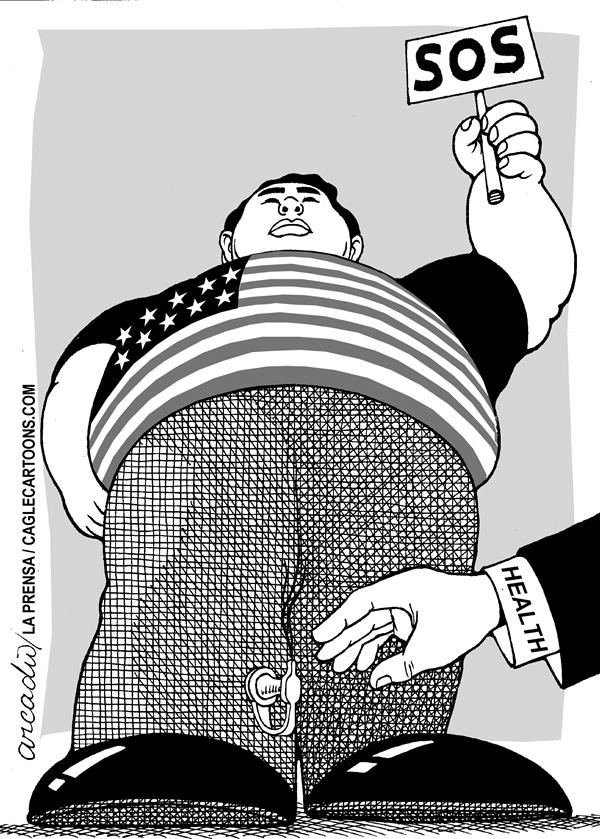 Arcadio Esquivel - La Prensa, Panama, www.caglecartoons.com - SOS  on fatness - English - Health, Fast Food, Fat