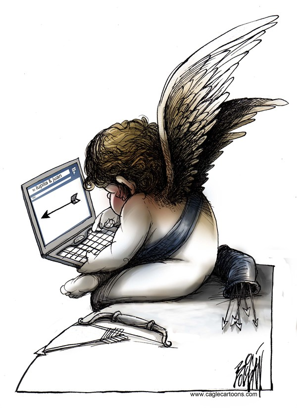 Arcadio Esquivel - La Prensa, Panama, www.caglecartoons.com - Modern Times - English - Holiday, Saint, Valentine, Day, Love, Cupid, bow, arrow, computer, internet, lovers
