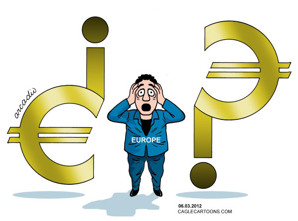 Arcadio Esquivel - La Prensa, Panama, www.caglecartoons.com - The crisis of the European economies - Spanish - Euro, Money, Coin, Budget, Crisis, Economy, Europe