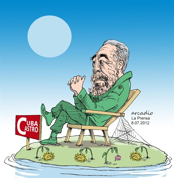 Arcadio Esquivel - La Prensa, Panama, www.caglecartoons.com - The Island and the Owner - English - Cuba, Fidel, Castro, socialism, communism, dictator,