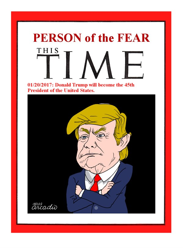 Arcadio Esquivel - Costa Rica, Caglecartoons.com - Person of the fear - English - Trump, USA, President, Republicans, Politicians