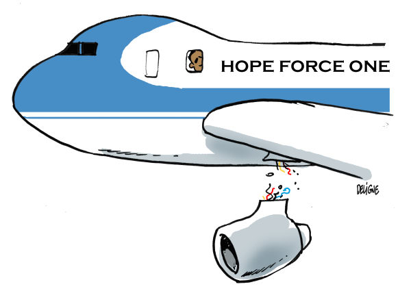 Frederick Deligne - Nice-Matin, France - Hope Force One COLOR - English - obama,plane,crash,hope,economy,job,unemployment,recession