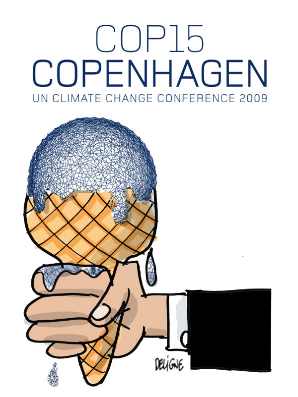 Frederick Deligne - Nice-Matin, France - Ice Age 2009 - English - copenhagen, climate, debate, mermaid, earth, change, global, summit, treaty