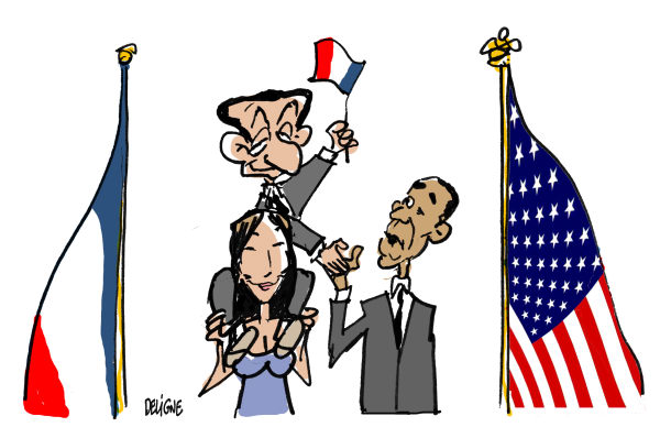 Frederick Deligne - Nice-Matin, France - Sarkozy in USA - English - sarkozy,obama,france,usa,visit,carla,nicolas,flag