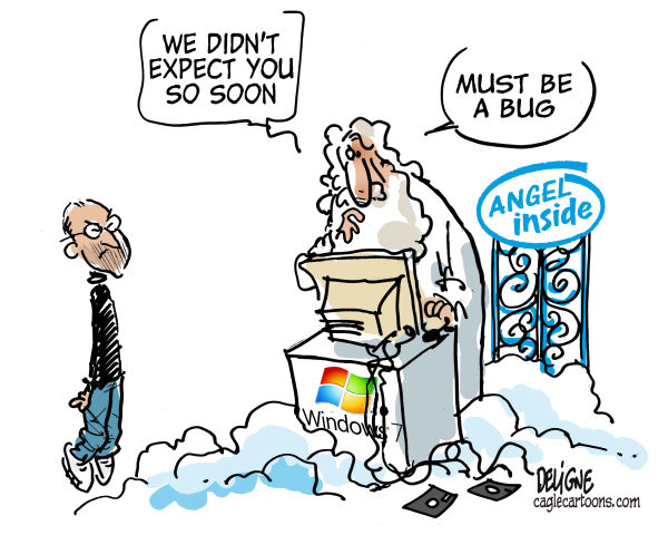 Frederick Deligne - Nice-Matin, France - Steve Jobs in Heaven - English - apple, Steve Jobs, iphone, ipod, ipad, computer,paradise, steve jobs