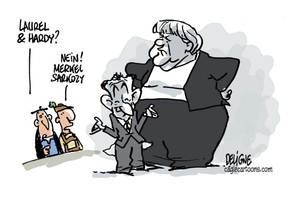 Frederick Deligne - Nice-Matin, France - Laurel-Hardy Merkel-Sarkozy - English - europe,crisis,merkel,sarkozy,france,germany