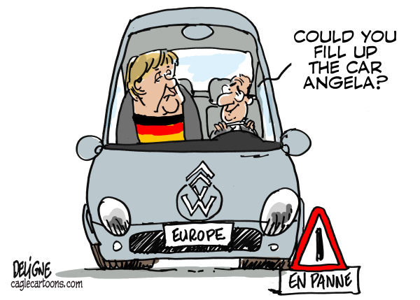 Frederick Deligne - Nice-Matin, France - Francois and Angela - English - merkel,hollande,france,germany,europe,europe,crisis
