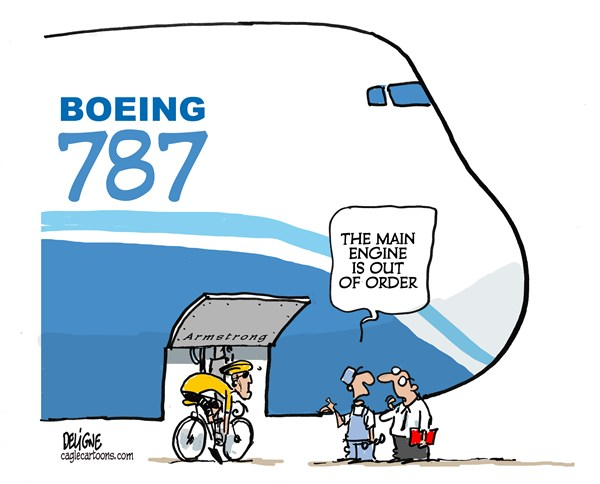 Frederick Deligne - Nice-Matin, France - Boeing and Armstrong - English - boeing,armstong,787,plane,race,cycling
