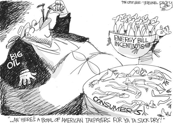 Pat Bagley - Salt Lake Tribune - Big Oil Glutton - English - Big Oil Energy Bill consumer