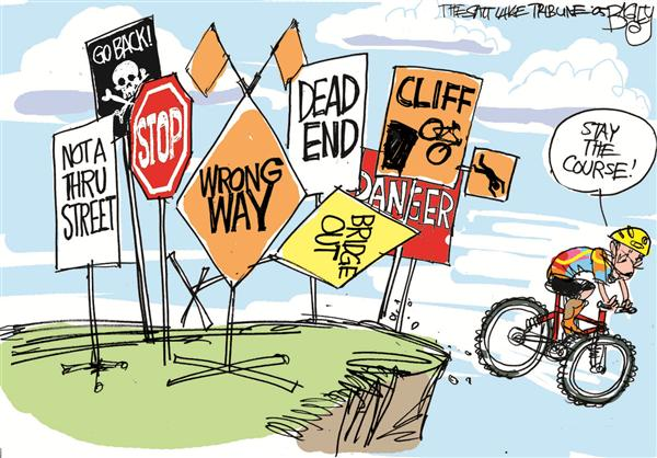Pat Bagley - Salt Lake Tribune - Bush Peddles Us Off a Cliff - English - Bush Iraq War on Terror anti-war Stubborn