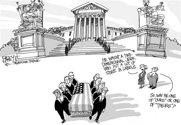 Pat Bagley - Salt Lake Tribune - Rehnquist Not a Jerk - English - Rehnquist Supreme Court John Roberts Conservative Liberal
