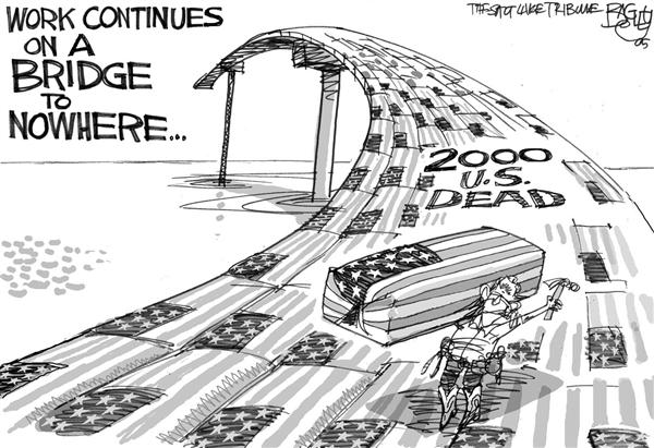 Pat Bagley - Salt Lake Tribune - 2000 Dead on a Bridge to Nowhere - English - Iraq Casualties US Dead 2000 Two thousand Bush Coffin Flag