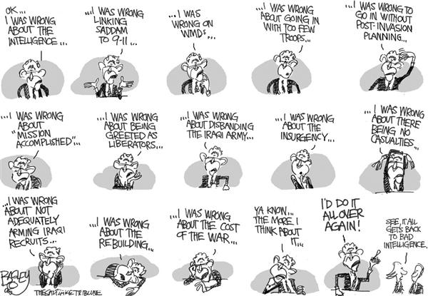 "Pat Bagley - Salt Lake Tribune - Wrong Way ""Dubyas"" War - English - Bush Iraq War Terror Saddam Torture WMDs"