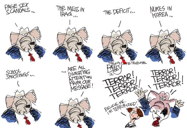 Pat Bagley - Salt Lake Tribune - GOP Message - English - Hastert GOP Foley Korea Page Scandal
