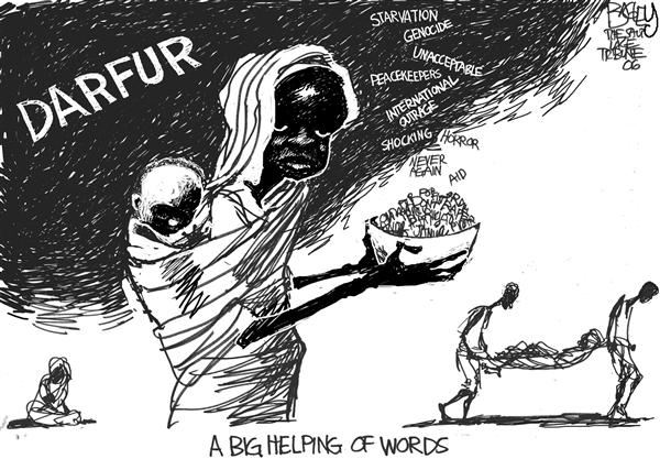 Pat Bagley - Salt Lake Tribune - Words for Darfur - English - Darfur UN Genocide, starving, words, food, united nations, talk
