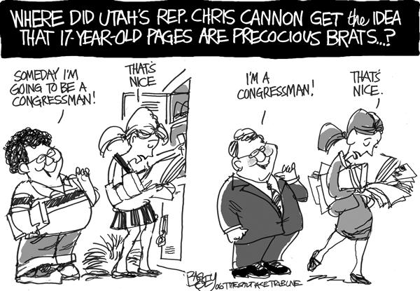 Pat Bagley - Salt Lake Tribune - LOCAL Paging Congressman Cannon - English - Cannon Shay Pages Hastert Congress
