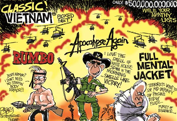 Pat Bagley - Salt Lake Tribune - Vietnam Redux - English - Iraq Bush Rumsfeld Cheney
