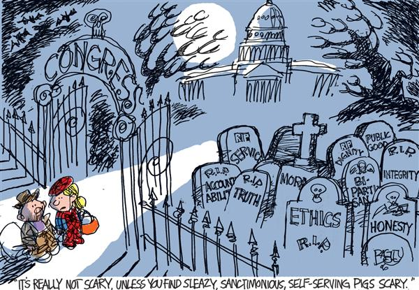 Pat Bagley - Salt Lake Tribune - Scary Congress COLOR - English - Congress, scary, halloween, grave yard, ethics, honesty