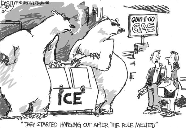 Pat Bagley - Salt Lake Tribune - Delinquent Polar Bears - English - Global Warming Polar Bear North Pole Climate Change