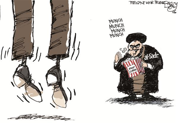 Pat Bagley - Salt Lake Tribune - Hanging Saddam COLOR - English - Saddam al-Sadr Iraq Hanging Execution