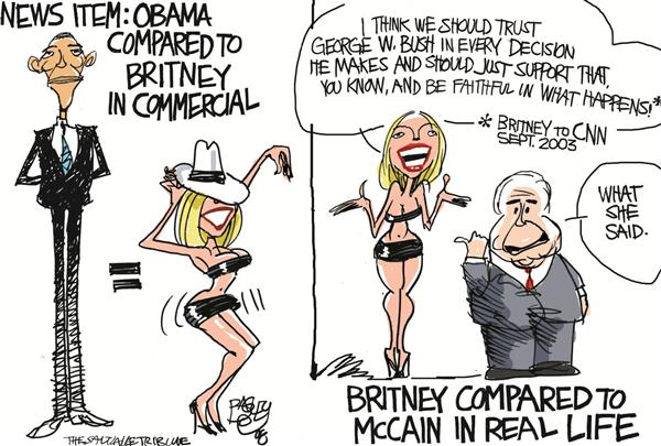 Pat Bagley - Salt Lake Tribune - Britney Obama - English - Obama, Britney, Britney Spears, Barack, Barack Obama, Celebrity, Berlin, Popularity,Campaign Ad, John mcCain, Attack Ad, Presidential Campaign, Commercial, Personal Attack