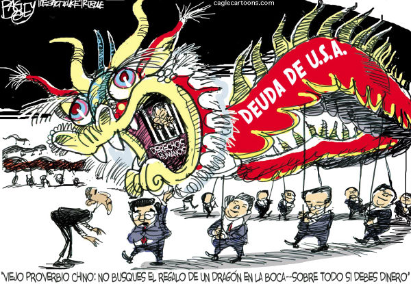 Dragon de la Economia / COLOR © Pat Bagley,Salt Lake Tribune,Barack, Obama, presidente, USA, Economia, China, Hu, Jintao, deuda, Reserva, Federal, Hillary, Clinton, Huntsman, Dragon