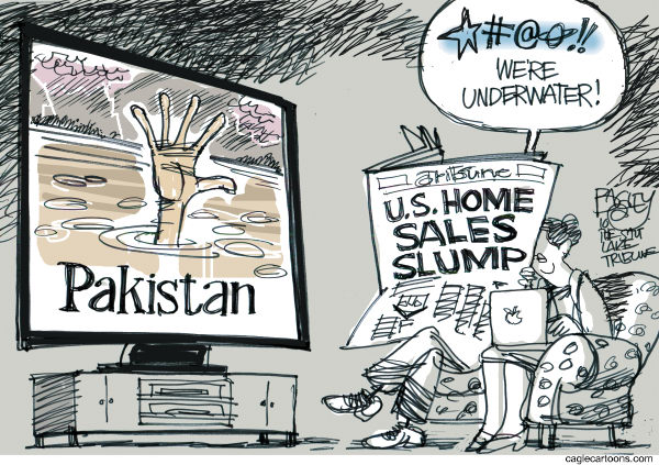 Pat Bagley - Salt Lake Tribune - Underwater Homes COLOR - English - Pakistan, Underwater, Mortgages, Eviction, Foreclosure, Economy, Housing, Flooding, Indus