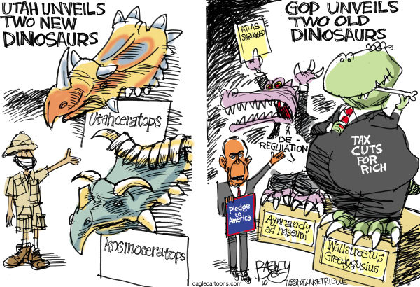 Pat Bagley - Salt Lake Tribune - Dinosaurs on Parade color - English - GOP, Dinosaurs, Utahceratops, Kosmoceratops, Utah, Boehner, Pledge to America, Republicans, Rich, Tax Cuts, Deregulation, November