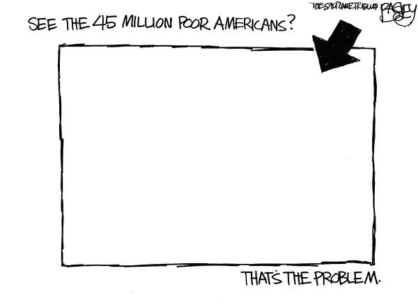 Pat Bagley - Salt Lake Tribune - Poor in America - English - Poor, Poverty, Wealth, Gap, Rich, Wealthy, America, Jobless, Homeless, Recession, Census