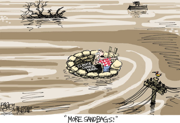 Da Nile Color © Pat Bagley,Salt Lake Tribune,River, Mississippi, Yazoo, Flooding, 1927, Levees, Breach, Flood, Army Corps of Engineers, Climate Change, Deniers, Global Warming