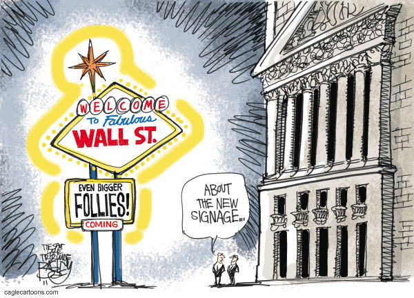 Stays in Wall Street Color © Pat Bagley,Salt Lake Tribune,Las Vegas, Vegas, Goldman Sachs, New York, Stock Exchange, Stocks, Bankers, Banks, Foreclosures, Fraud, Investment, Wall Street, Hedge Funds, Securitized, Mortgages