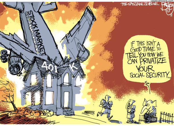 Pat Bagley - Salt Lake Tribune - Magic of the Market Crash - English - Wall Street, Wall St, Downgrade, SP, GOP, Social Security, 401k, Republicans, Privatize, Crash, Market, Capitalism