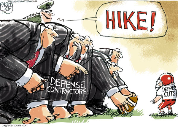 The Military- industrial Bowl © Pat Bagley,Salt Lake Tribune,Military, Industrial, Defense, War, Panetta, Cuts, Army, Macy, Air Force, Marines, Budget, Deficit, Debt, Lobbyists, Contractors