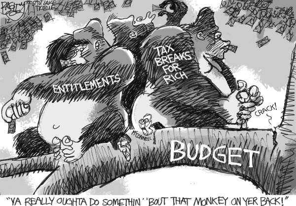 Pat Bagley - Salt Lake Tribune - Budget of the Apes - English - Apes, Budget, Mcco, Democrats, President, Obama, Mitch, Barack, Entitlements, Tax, Taxes, Rich, Wealthy, Tax Cuts, Social Security, Medicarennell, GOP