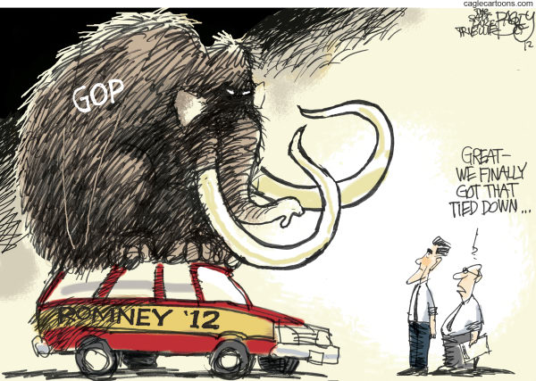 Pat Bagley - Salt Lake Tribune - Republicans On Board - English - GOP, Romney, Mammoth, Elephant, Seamus, Dog, Mitt, Station Wagon, Trip, Republican, Nomination, 2012, Presidential Election, Primaries