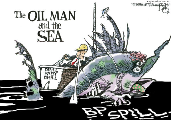 BP Fish Oil © Pat Bagley,Salt Lake Tribune,BP, British Petroleum, Oil Spill, Oil, Gulf, Sea Life, Fish, Shrimp, Crustaceans, Old Man and the Sea, Pollution, Oceans, Sea, Drilling, Drill, Drill Baby Drill