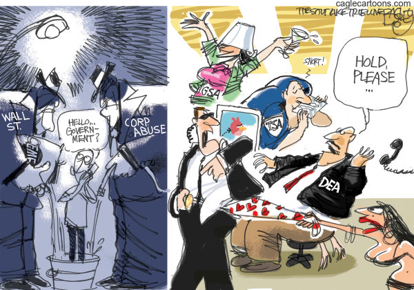 Pat Bagley - Salt Lake Tribune - Government Gone Wild - English - Government, GSA, TSA, Secret Service, Escorts, Prostitutes, Wall Street, Corporate, Corporations, Scandal, DEA