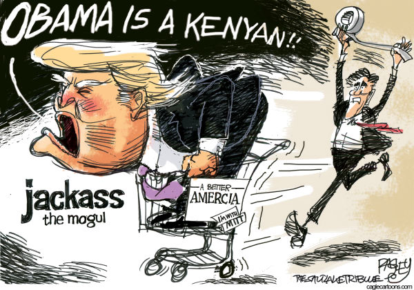 Pat Bagley - Salt Lake Tribune - Trumps Pie Hole - English - Trump, Donald, The Donald, Jackass, Mogul, Birthers, Certificate, Birth Certificate, Kenya, Hawaii, Kenyan