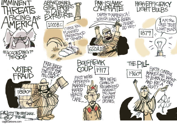 Pat Bagley - Salt Lake Tribune - Bugaboos of the Right - English - Gender, Abortion, Terrorism, Caliphate, Voter Fraud, Womens Lib, Bra Burning, Socialists, Socialism, Light Bulb, Incandescent, Slut, GOP, Republicans