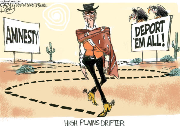Pat Bagley - Salt Lake Tribune - Mitt's Line on Immigration - English - Immigration, Deport, Deportation, Amnesty, Dream Act, Immigrants, Illegals, Romney, Mitt, GOP, Republicans, Latinos, Hispanics