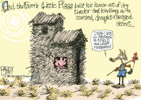 Pat Bagley - Salt Lake Tribune - LOCAL Fire Starter - English - Fires, Utah, Guns, Shooting, Target, Fireworks, Wildfire, Drought, Desert