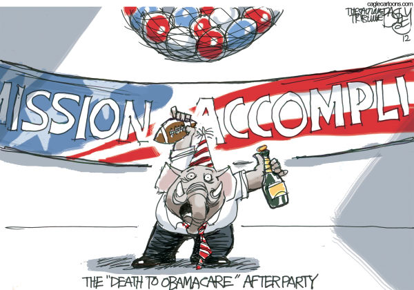 Pat Bagley - Salt Lake Tribune - Obamacare Surprise Party - English - GOP, Obamacare, ACA, Affordable Care Act, Republicans, Repeal and Replace, Mission Accomplished, healthcare tax, government, Roberts, Supreme Court, Constitutional, Legal, Mandate