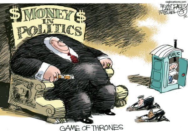 Election Money © Pat Bagley,Salt Lake Tribune,Election, Citizens United, Money, Campaign, Obama, Romney, Finance, Contributions, One percent, Public, Super Pacs, Corporations