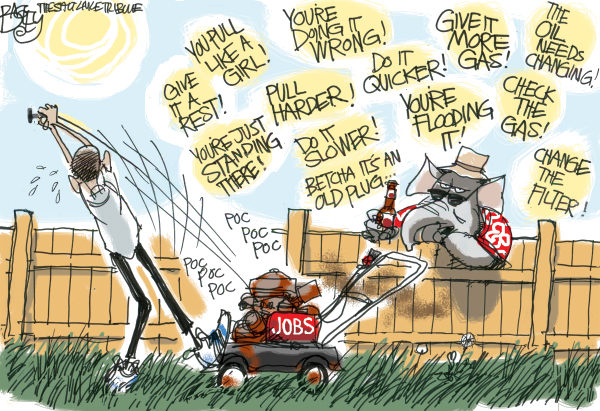 Pat Bagley - Salt Lake Tribune - Job Kick Start - English - Jobs, Jobs Report, Work, Workers, Unemployment, Jobless, Private Sector, Public Sector, Obama, GOP, Romney