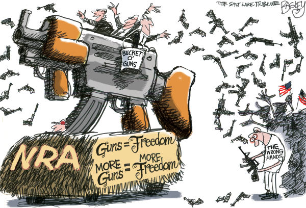 Pat Bagley - Salt Lake Tribune - 1 Nation Under Gun - English - Guns, Gun, Gun Control, Aurora, Colorado, James Holmes, Killing, Assault Rifles, Massacre, Batman, Movie