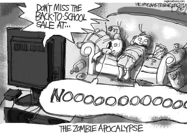 Pat Bagley - Salt Lake Tribune - Back-to-school Apocalypse - English - Zombie, Back to School, School, Summer, Vacation, Summer Sales, Fall Sales, Zombies, Zombie Apocalypse