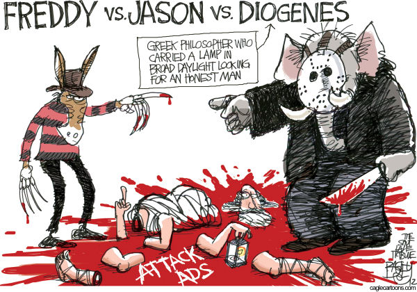 Pat Bagley - Salt Lake Tribune - Attack Ads - English - Attack Ads, Presidential, Obama, Romney, Negative Ads, Advertising, Negative Advertising, Jason, Diogenes, Freddy Krueger