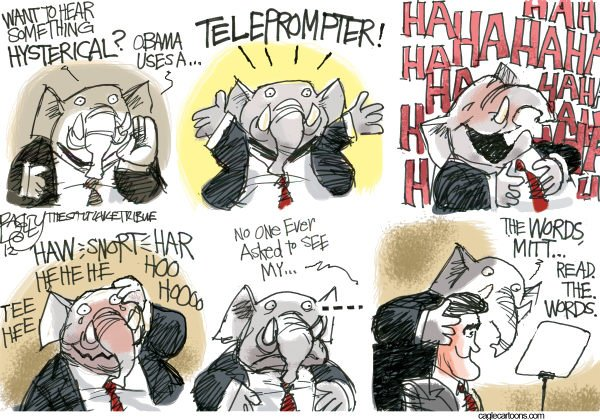 Pat Bagley - Salt Lake Tribune - Teleprompter Hilarity - English - TelePrompter, teleprompter, Obama, Barack, Romney, GOP, Republicans, Humor, Mitt, Convention